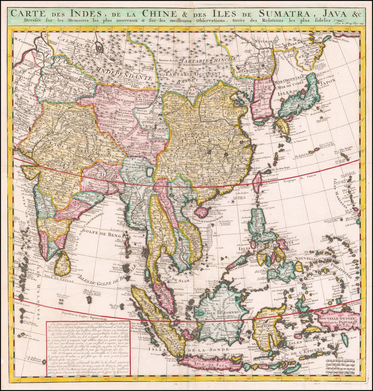 Carte des Indes, de la Chine & des Iles de Sumatra, Java &c. ... By Henri Chatelain