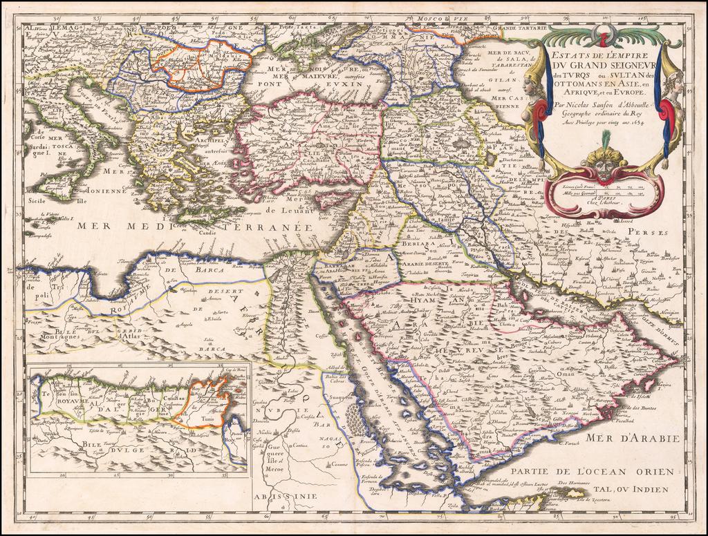 Estats de l'Empire du Grand Seigneur des Turqs ou Sultan des Ottomans en Asie, en Afrique, et en Europe . . .  1654 By Nicolas Sanson