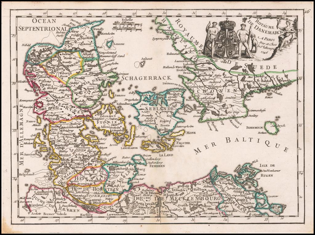 Royaume De Danemarck . . .1746 By George Louis Le Rouge