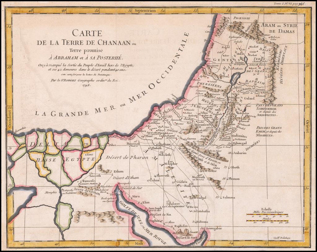 Carte de la Terre de Chanaan ou Terre promise a Abraham et a sa Posterite . . . 1748 By Gilles Robert de Vaugondy