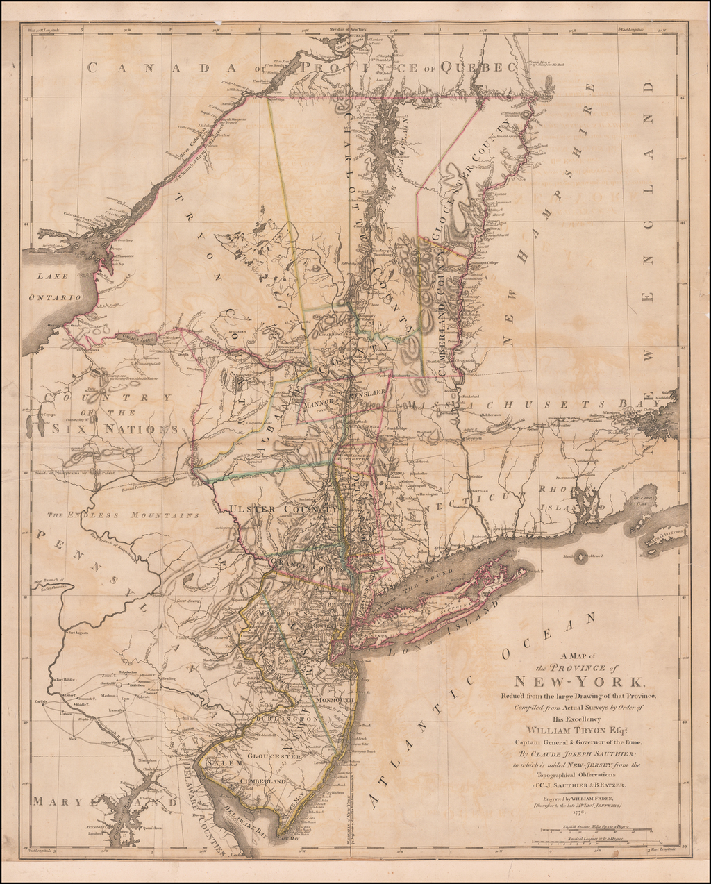 A Map of the Province of New-York, Reduc'd from the large Drawing of that Province, Compiled from actual Surveys by Order of His Excellency William Tryon Esqr. Captain General & Governor of the Same, By Claude Joseph Sauthier; to which is added New-Jersey . . . 1776 By Claude Joseph Sauthier / Bernard Ratzer