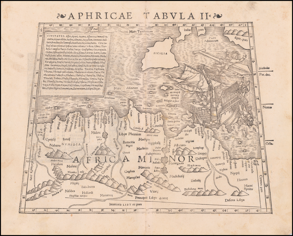Aphricae Tabula II [Includes Malta, Sicily and part of the Mediterranean] By Sebastian Münster