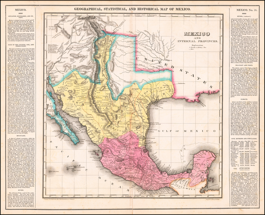 Geographical, Statistical and Historical Map Of Mexico By Henry Charles Carey  &  Isaac Lea