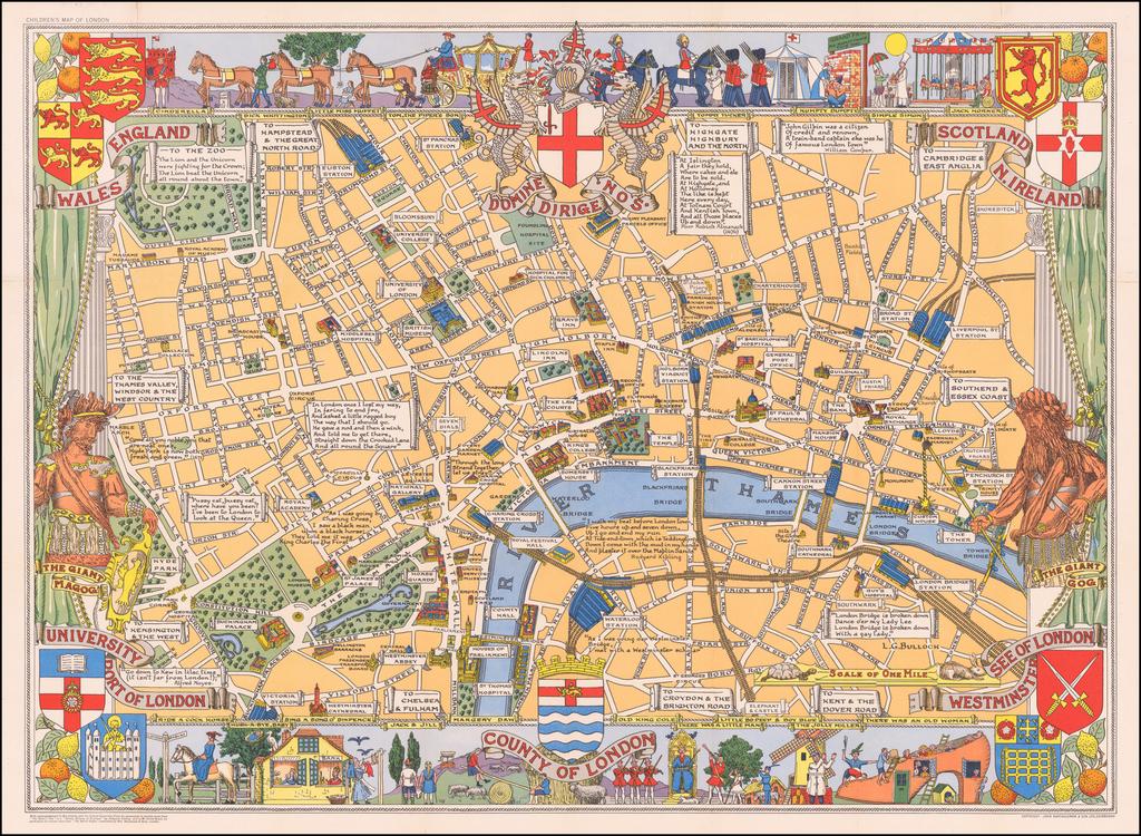 County of London  (Children's Map of London) By John Bartholomew