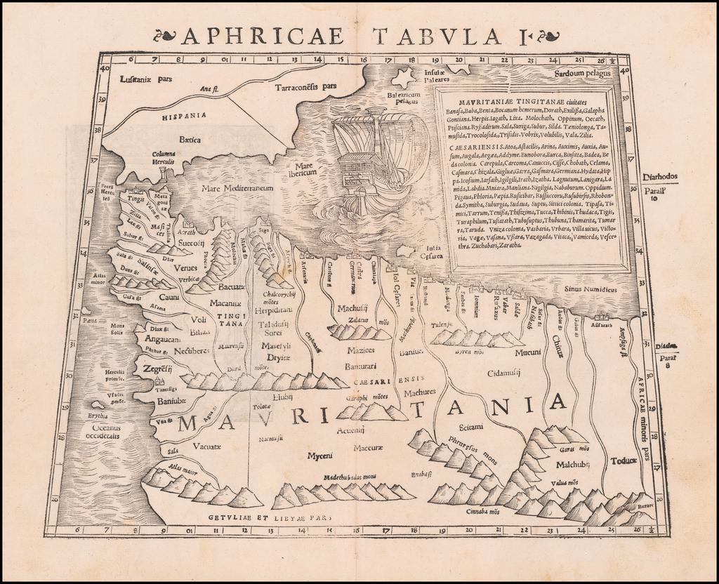 Tabula Aphricae I [Morocco, Tunisia, Spain, Maiorca, Minorca, etc] By Sebastian Münster