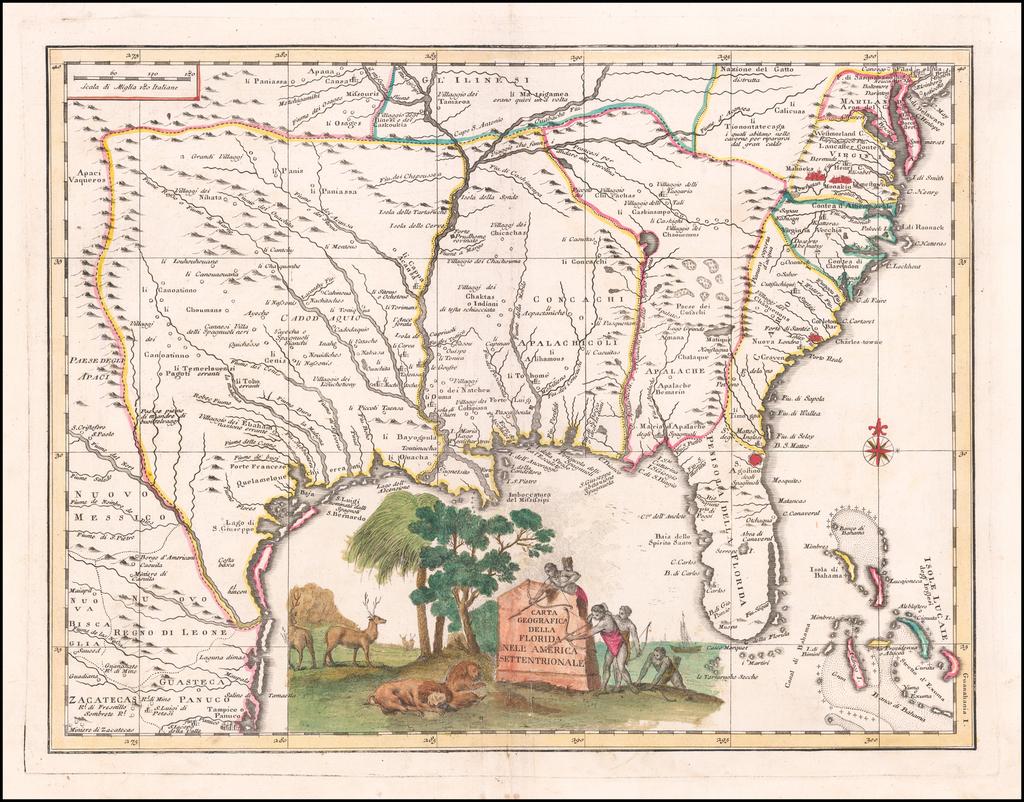 Carta Geografica Della Florida Nell America Settentrionale By Giambattista Albrizzi