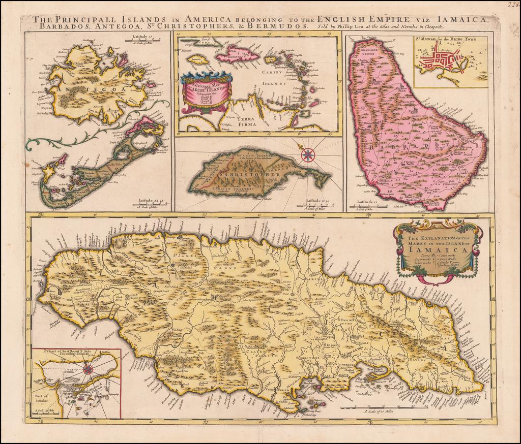 The Principall Islands in America belonging to the English Empire viz Iamaica, Barbados, Antegoa, St. Christophers & Bermudos By Philip Lea