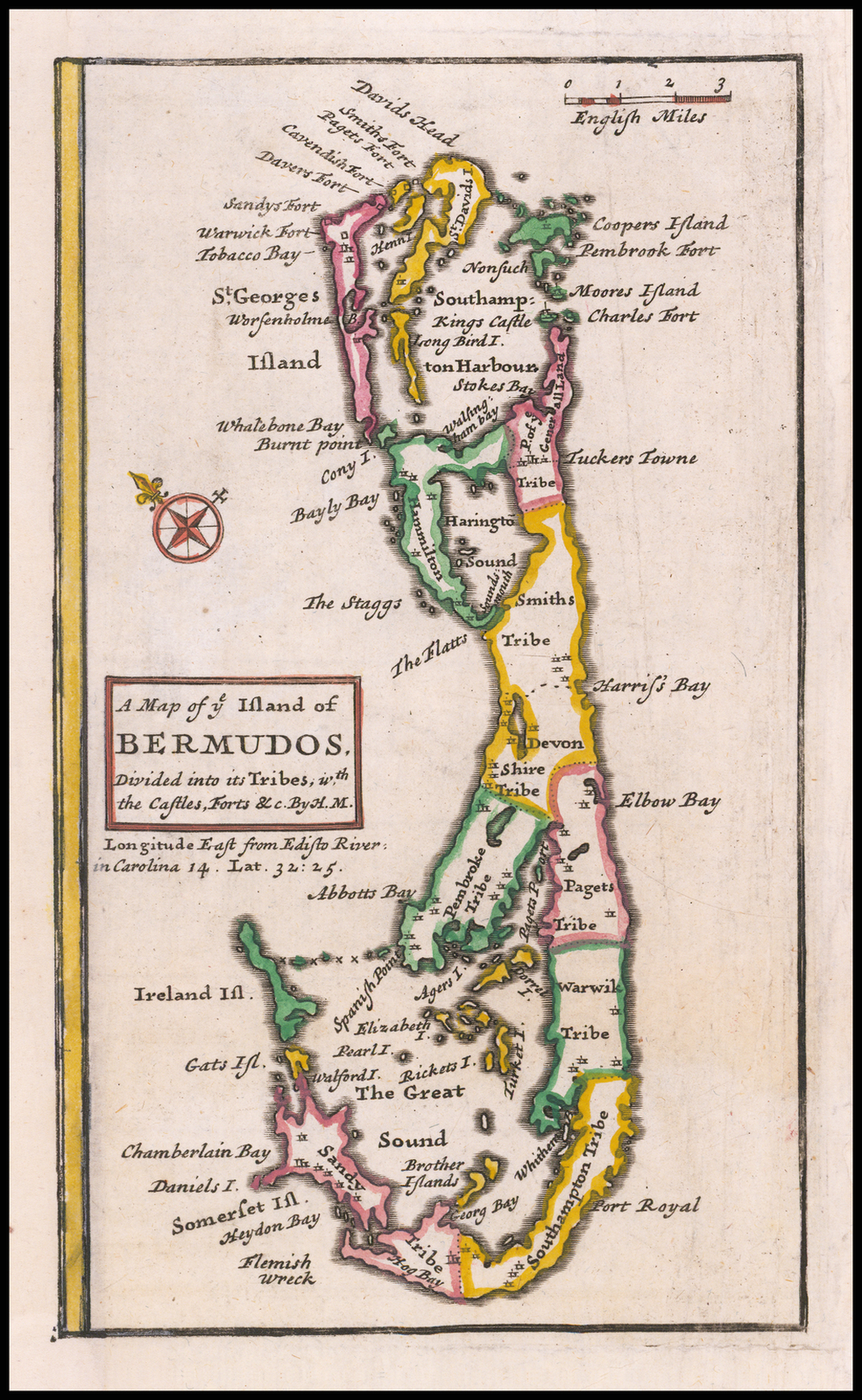 A Map of ye Island of Bermudos, Divided into its Tribes with the Castles, Forts &c By H. M. By Herman Moll