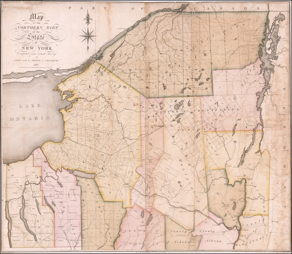 Map Of Northern New York.Map Of The Northern Part Of The State Of New York Compiled From
