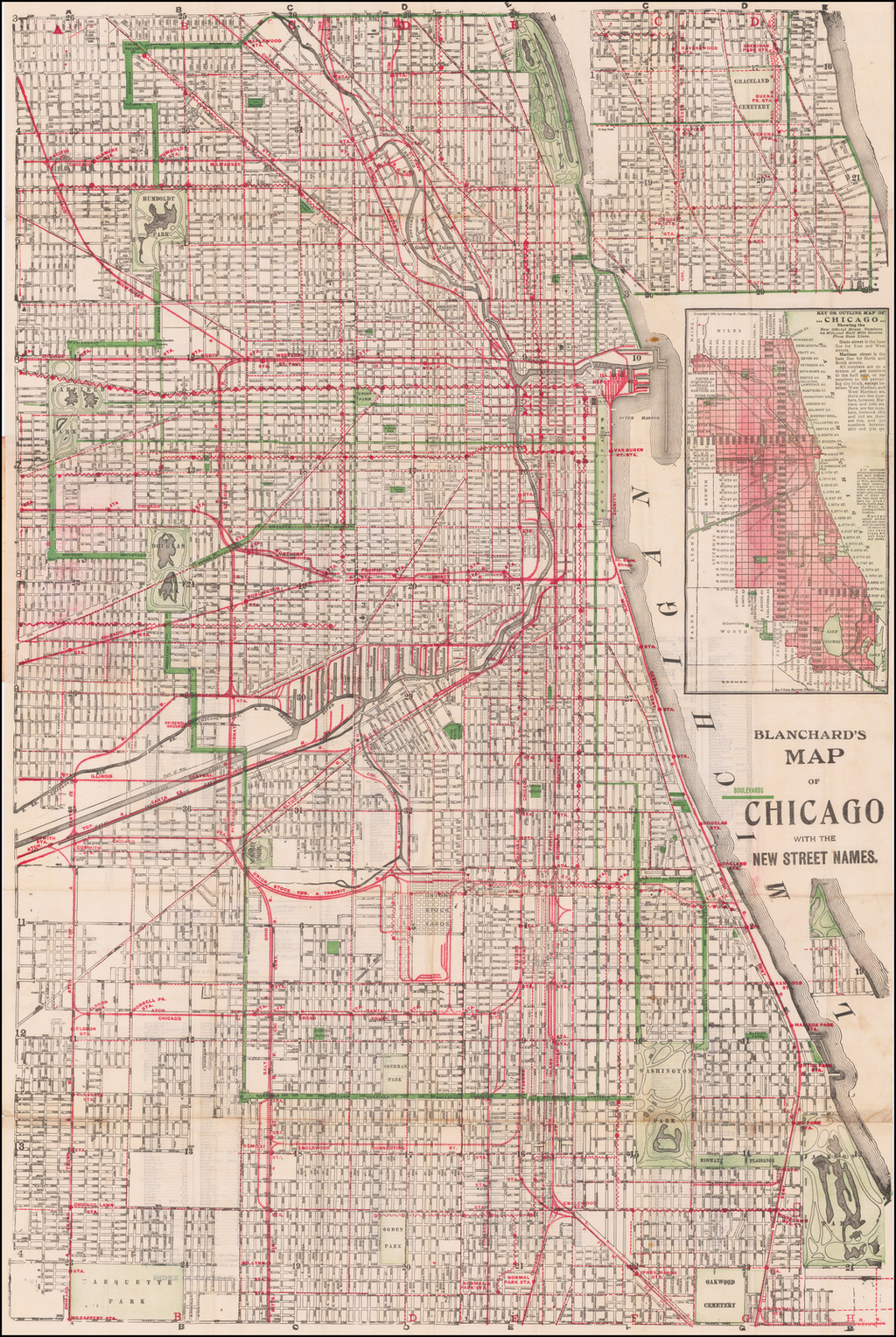 Blanchard's Map of Chicago By George F. Cram / Rufus Blanchard