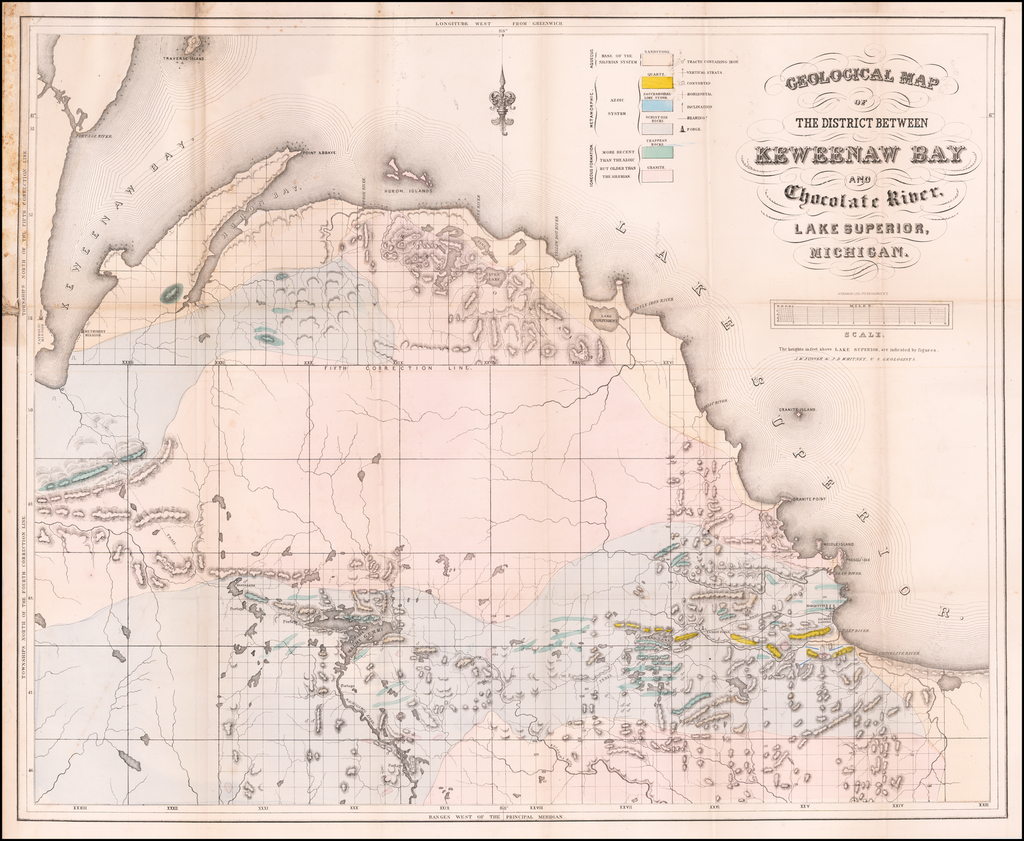 Geological Map of The District Between Keweenaw Bay and Chocolate River, Lake Superior, Michigan By Josiah Dwight Whitney  &  John Foster