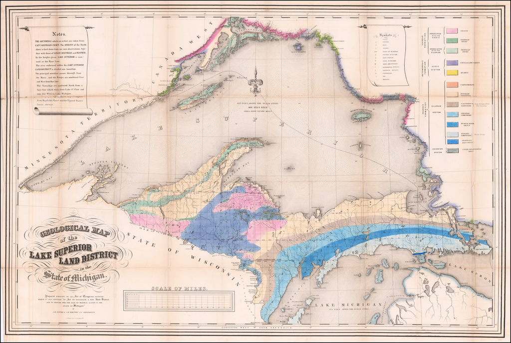 """Geological Map of The Lake Superior Land District in the State of Michigan.  Prepared Pursuant to an Act of Congress approved March 1st 1847, Entitled """"An Act to establish a new Land District and to Provide for the sale of mineral rights in the State of Michigan"""" . . .  By Josiah Dwight Whitney  &  John Foster"""