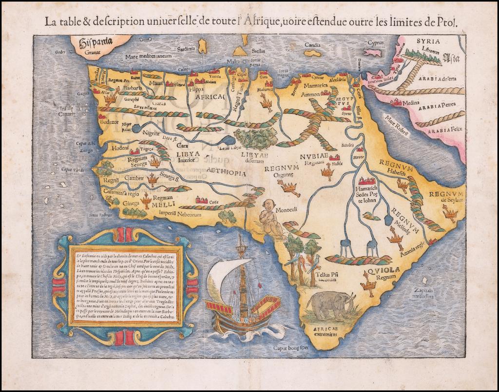 La table & description universelle de toute l'Afrique, uoire estendue outre les limites de Ptol. By Sebastian Münster