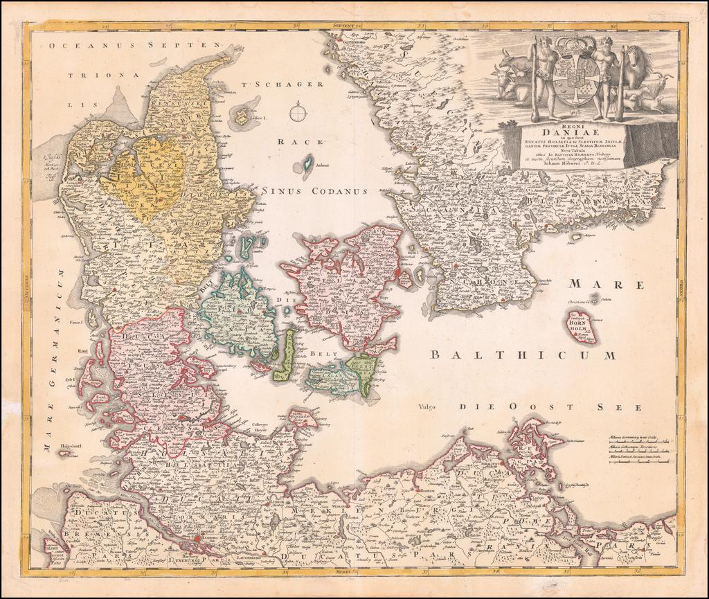 Regni Daniae in quo sund Ducatus Holsatia et Slesvicum Insulae, Danicae, Provinciae, Iustia, Scania Blekingia Nova Tabula By Johann Baptist Homann