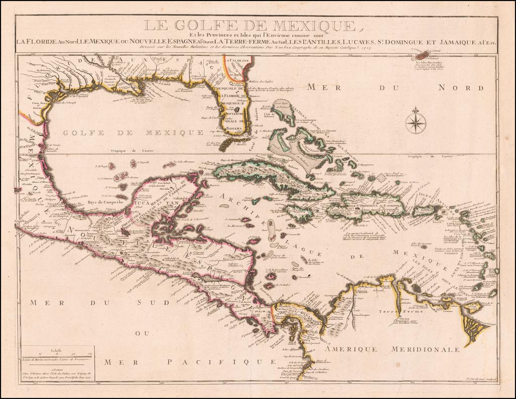 Le Golfe De Mexique, La Floride Au Nord Le Mexique ou Nouvelle Espagne . . . 1717 By Nicolas de Fer