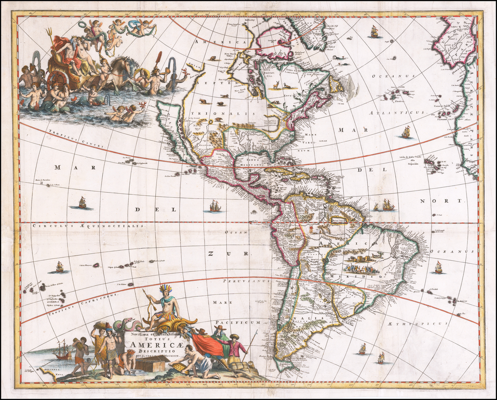 Novissima et Accuratissima Totius Americae Descriptio per Jacobum Meursium By Jacob Van Meurs