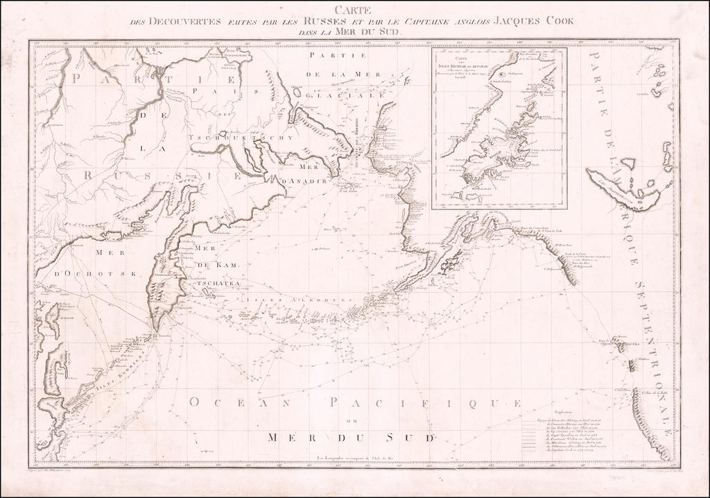 Carte des Decouvertes faites par les Russes et par le Capitaine Anglois Jacques Cook dans la Mer du Sud By Alexander Wilbrecht