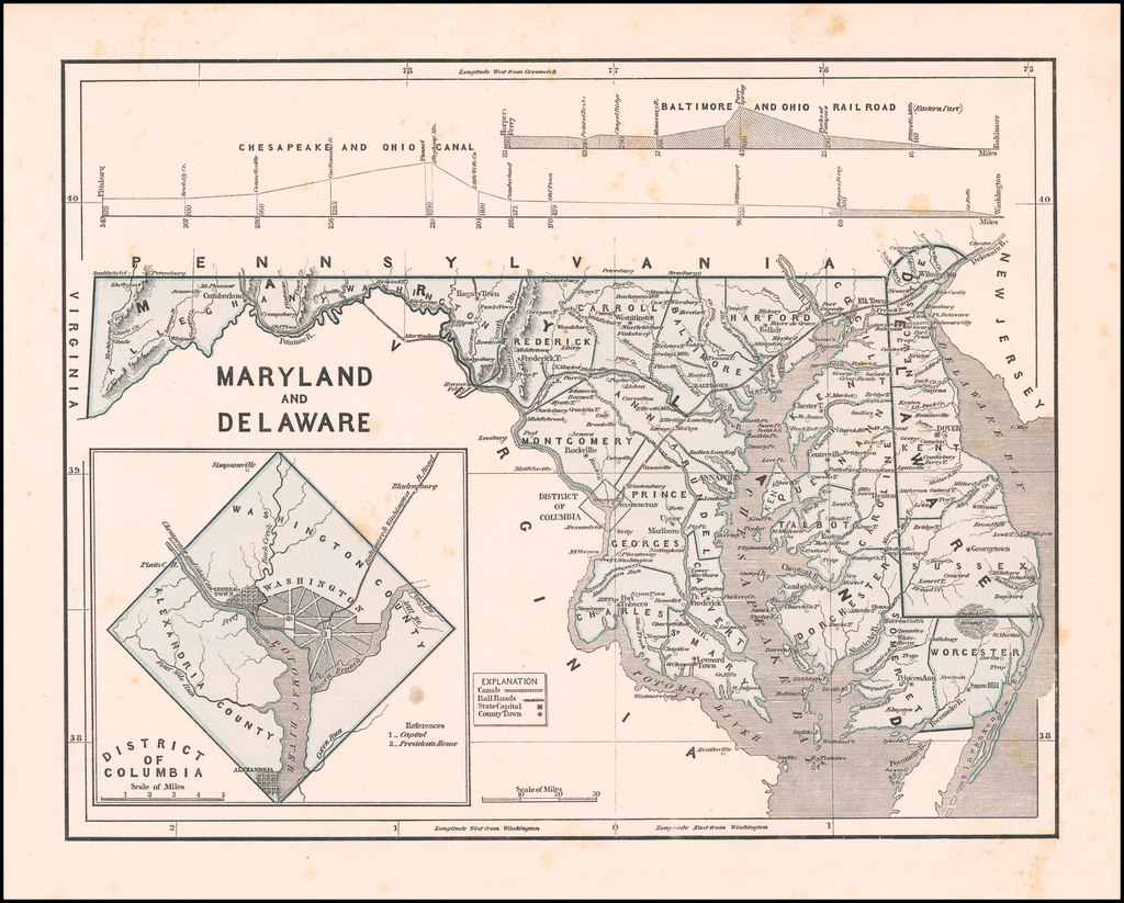 Maryland and Delaware [with Inset of the District of Columbia] By Sidney Morse  &  Samuel Breese