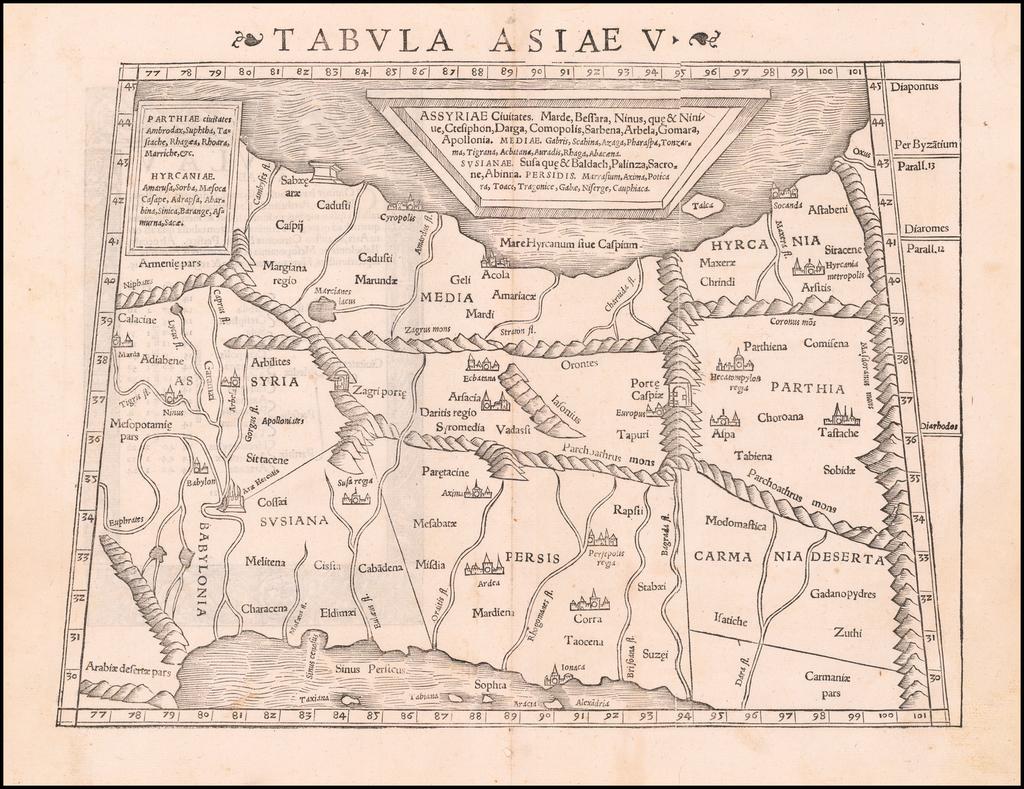 [Iran, Eastern Iraq]  Tabula Asiae V By Sebastian Münster