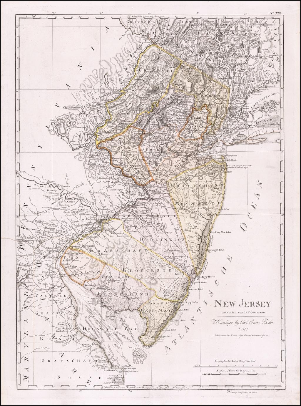 New Jersey entworfen von D.F. Sotzmann . . .  1797 By Daniel Friedrich Sotzmann
