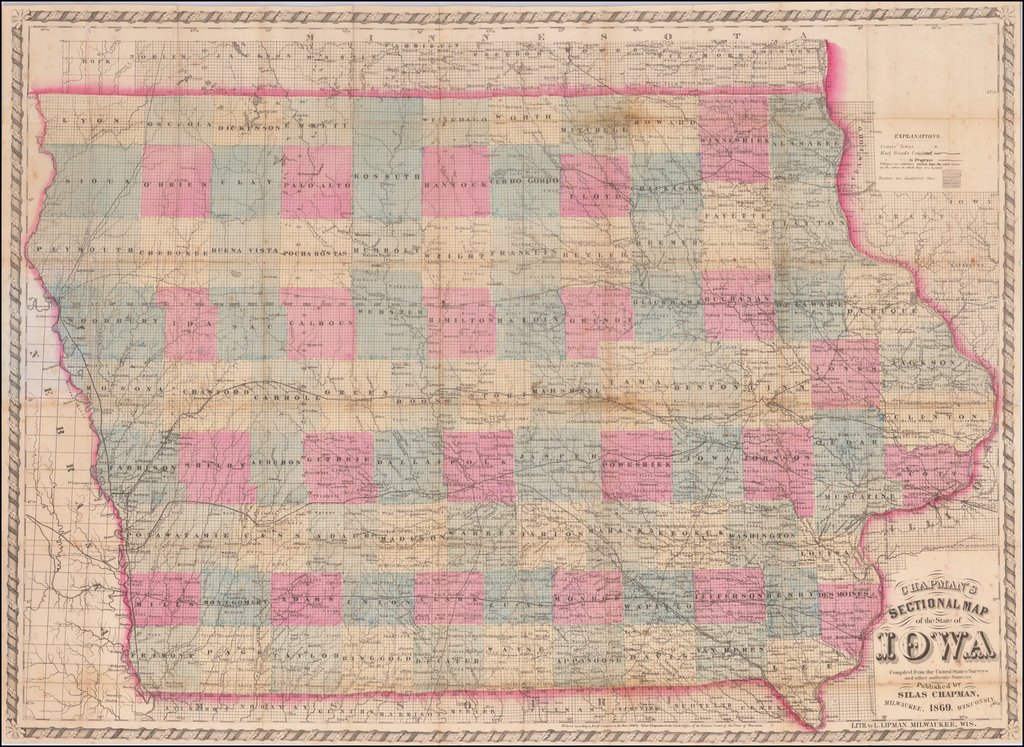Chapman's Sectional Map of the State of Iowa  Compiled from the United States Surveys and other authentic Sources . . . 1869 By Silas Chapman