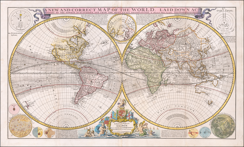 A New and Correct Map of the World Laid Down According to the Newest Discoveries, and from the Most Exact Observations . . .  By Herman Moll