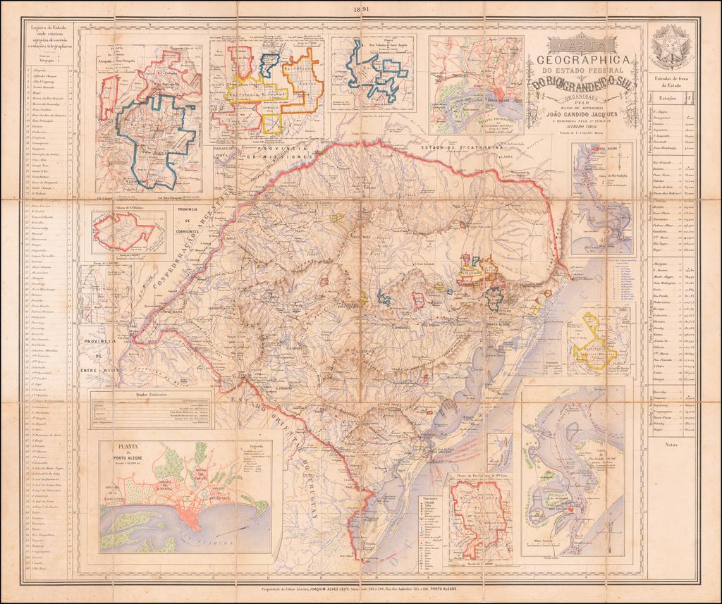 Carta Geographica Do Estado Federal Do Rio Grande Do Sul Organisada pelo Major de Artilaria João Cândido Jacques . . . . By