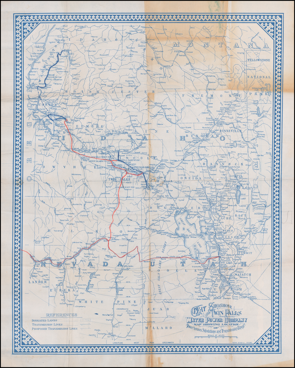 Great Shoshone and Twin Falls Water Power Company Map Showing Location of Power houses, Substations and Transmission Lines By Great Shoshone and Twin Falls Water Power Company