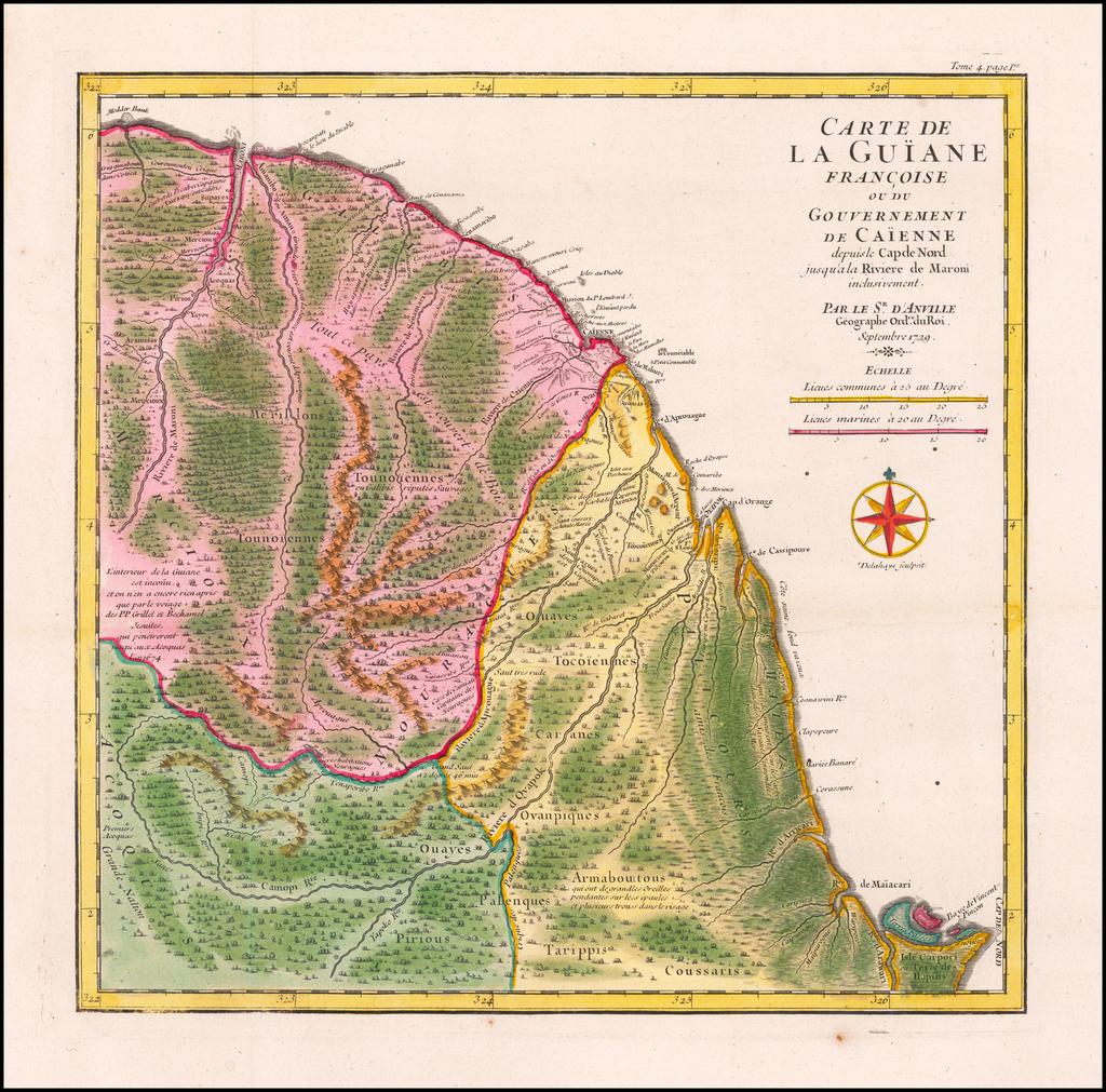 Carte de La Guiane Francoise ou du Gouvernement de Caienne deupis le Cap de Nord jusqu'al la Riviere de Maroni inclusivement . . .  Septembre 1729 By Jean-Baptiste Bourguignon d'Anville