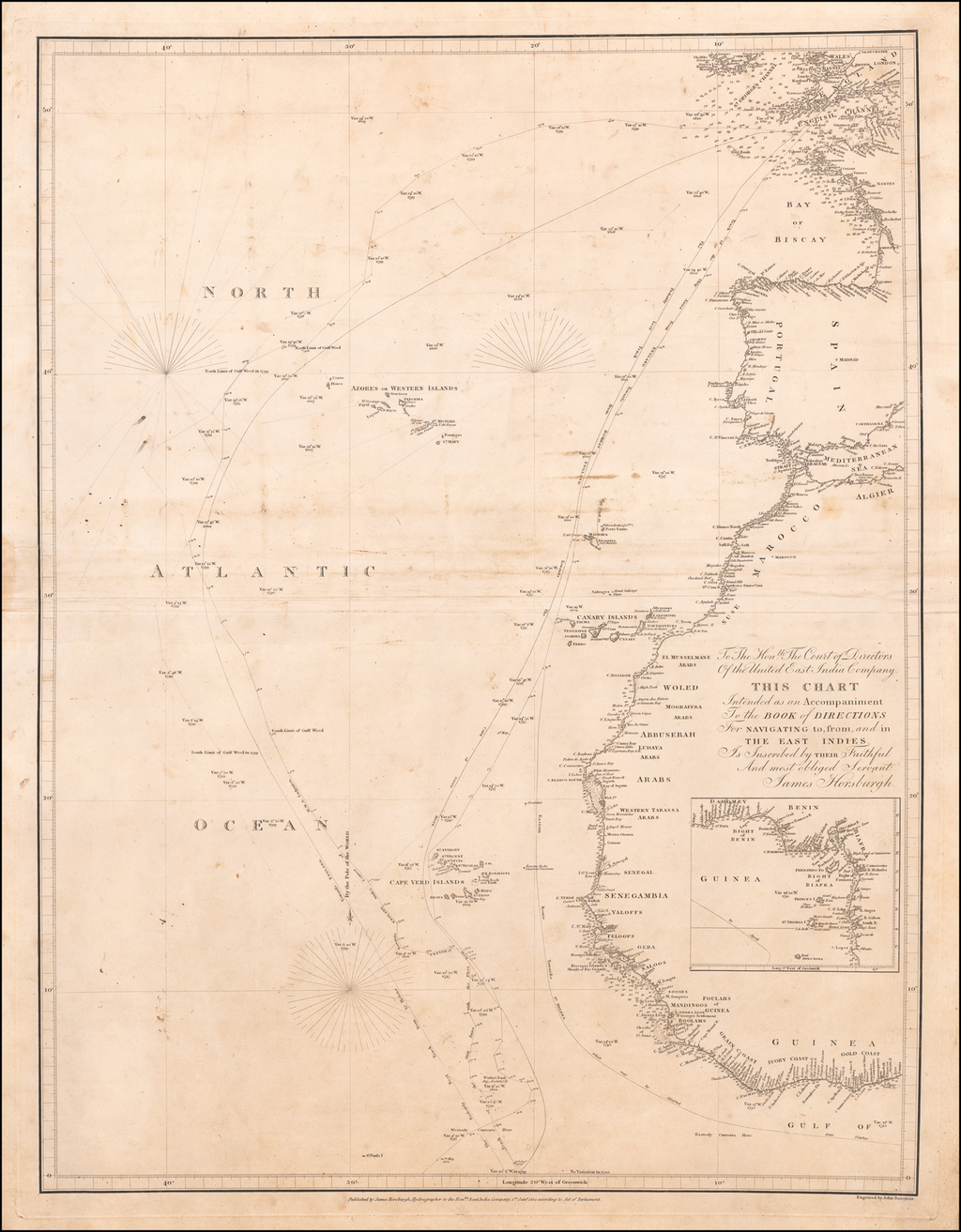 [Atlantic Ocean] To The Hon:ble The Court of Directors of the United East India Company  This Chart  Intended as an Accompaniment to the Book of Directions For Navigating to, from and in the East Indies.  Is Inscribed by Their Faithful and most obliged Servant James Horsburgh . . . By James Horsburgh