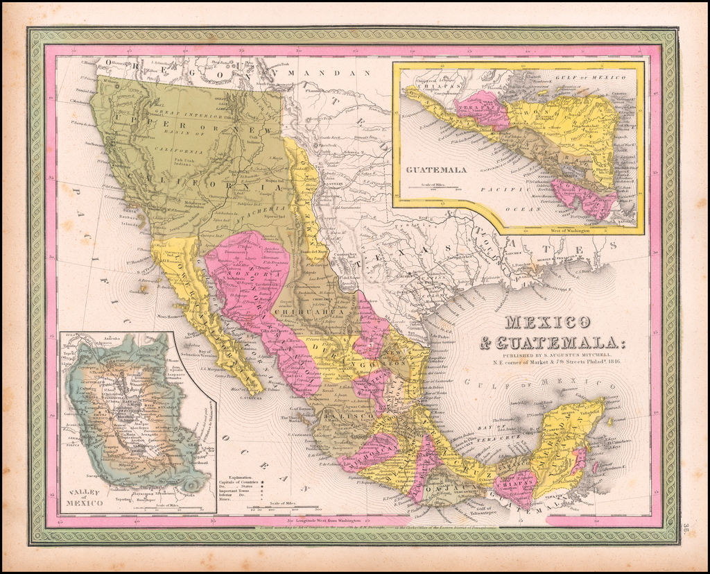 Mexico & Guatemala . . . 1846 By Samuel Augustus Mitchell