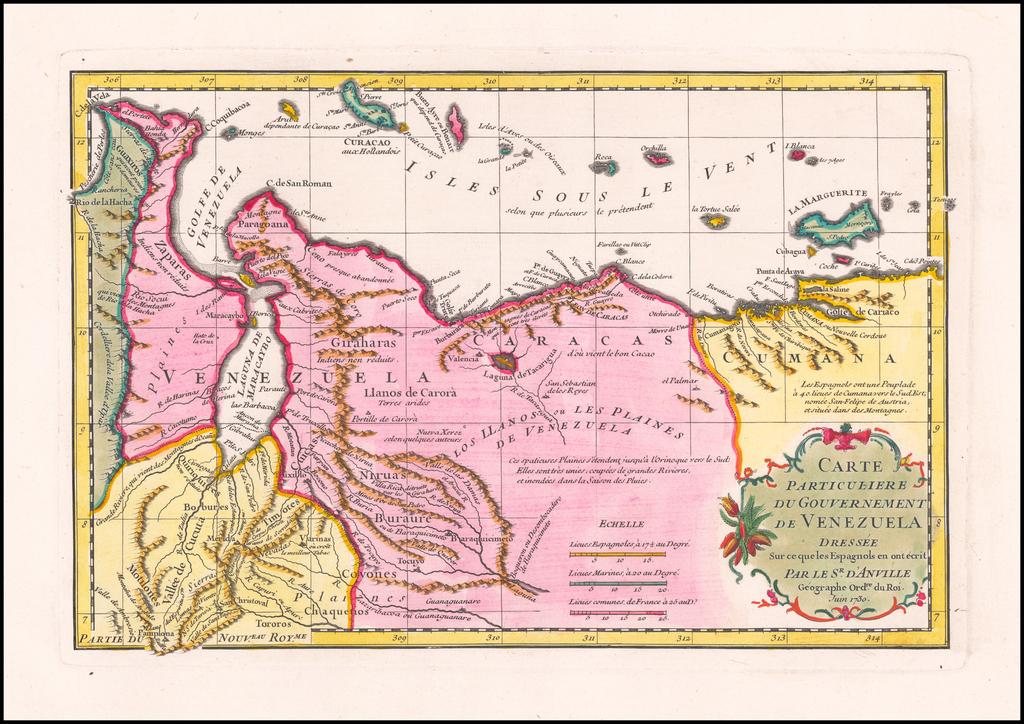 Carte Particuliere du Gouvernement de Venezuela By Jean-Baptiste Bourguignon d'Anville