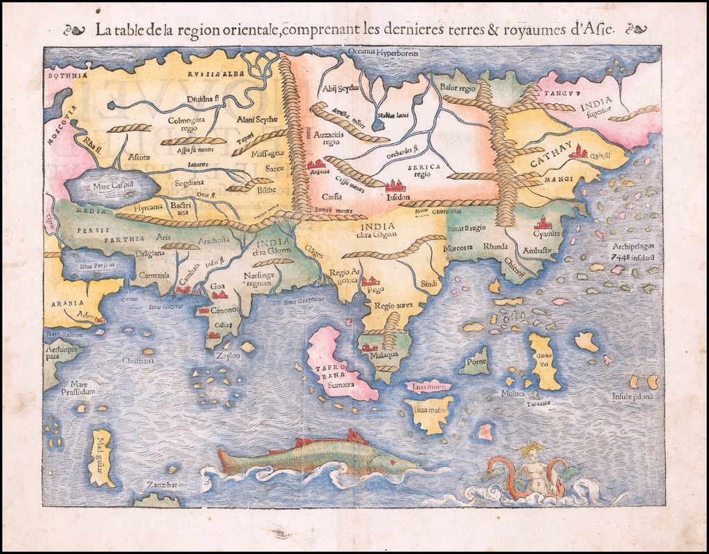 La Table de la region orientale, comprenant les dernieres terres & royaumes d'Asie (1st Printed Map of Asia) By Sebastian Münster