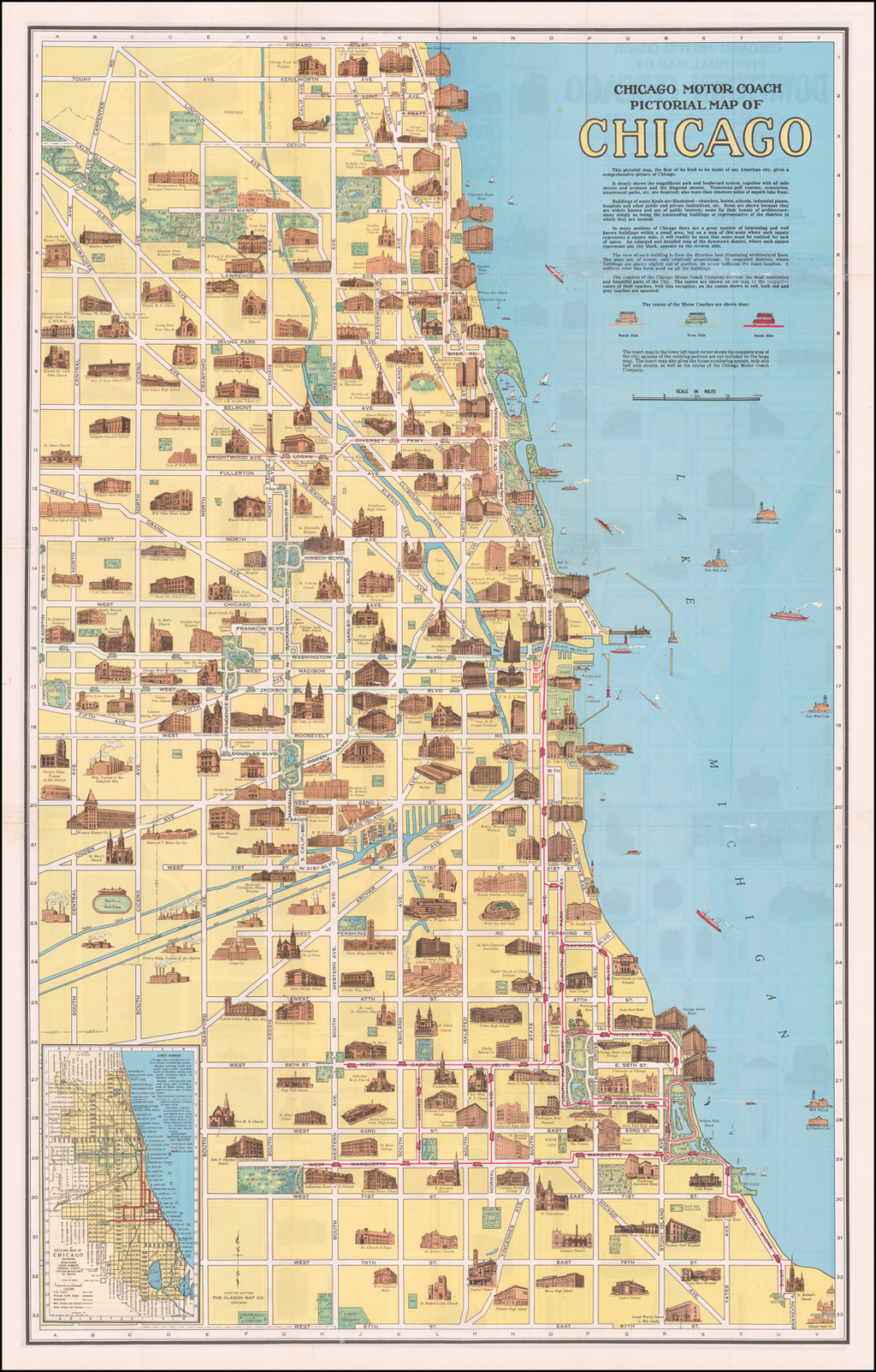 Chicago Motor Coach Pictorial Map of Downtown Chicago By The Clason Map Company