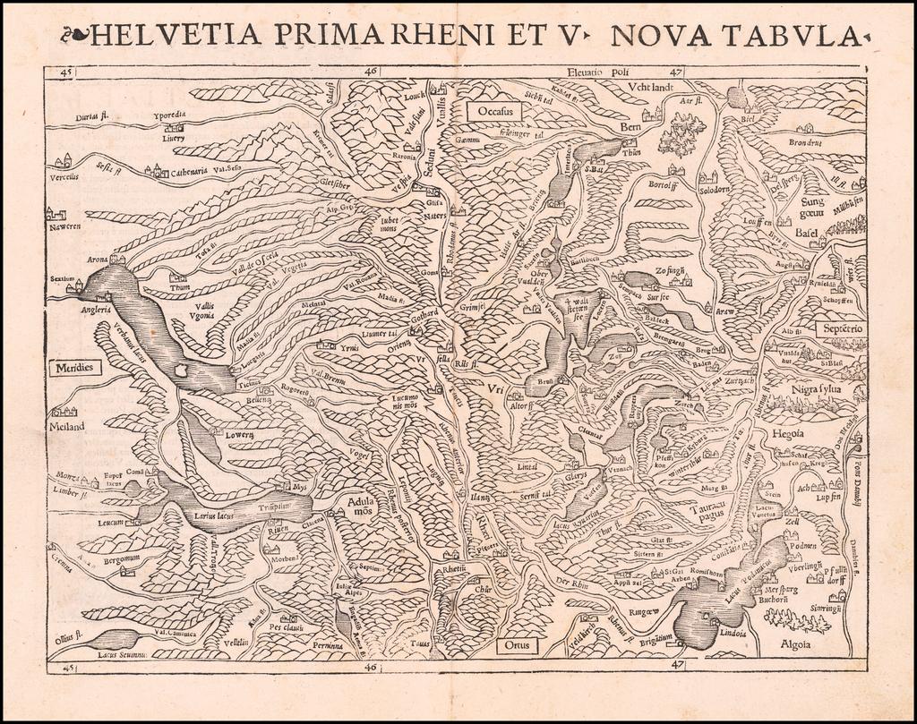 [Switzerland]  Helvetia Prima et VIII Nova Tabula  By Sebastian Münster