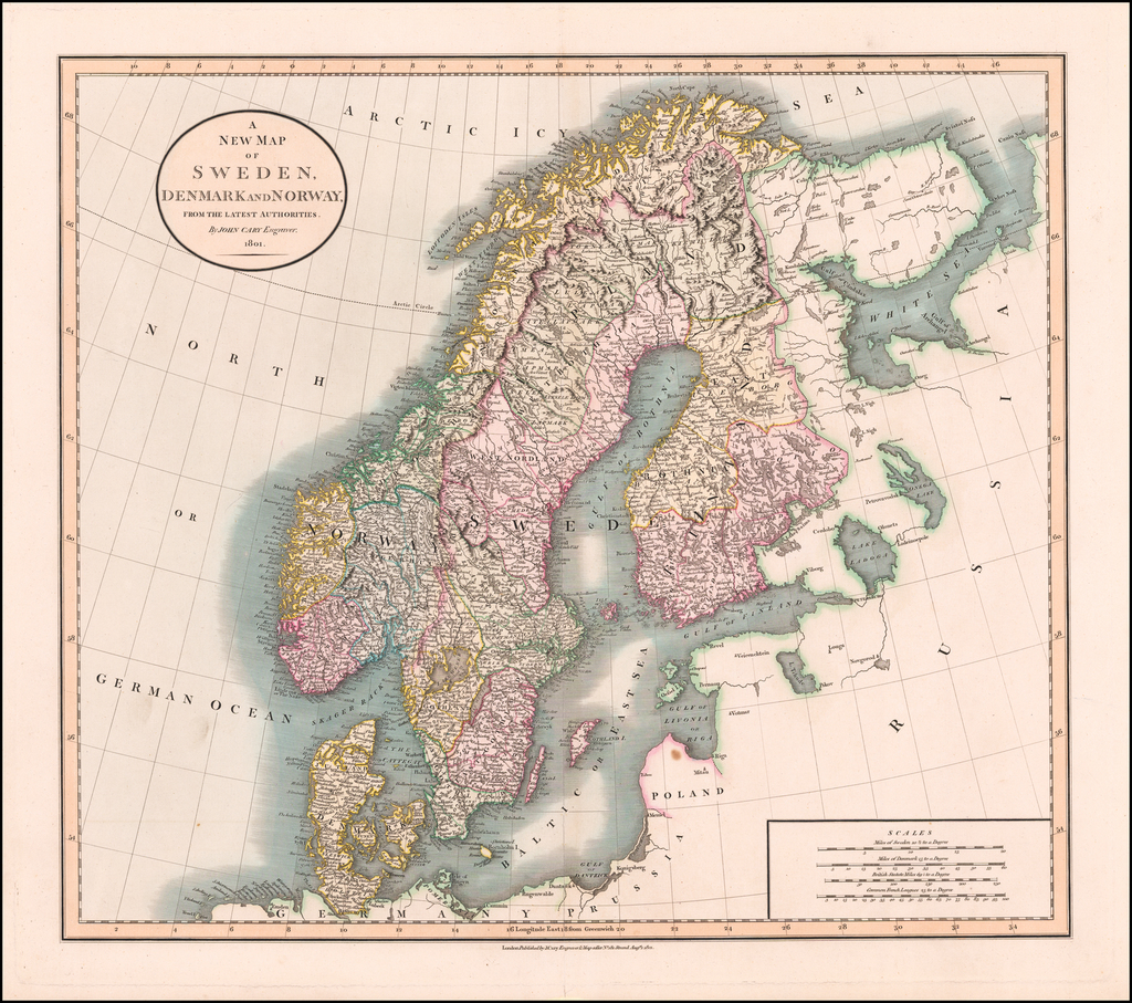 A New Map of Sweden, Denmark and Norway, from the Latest Authorities . . . 1801 By John Cary