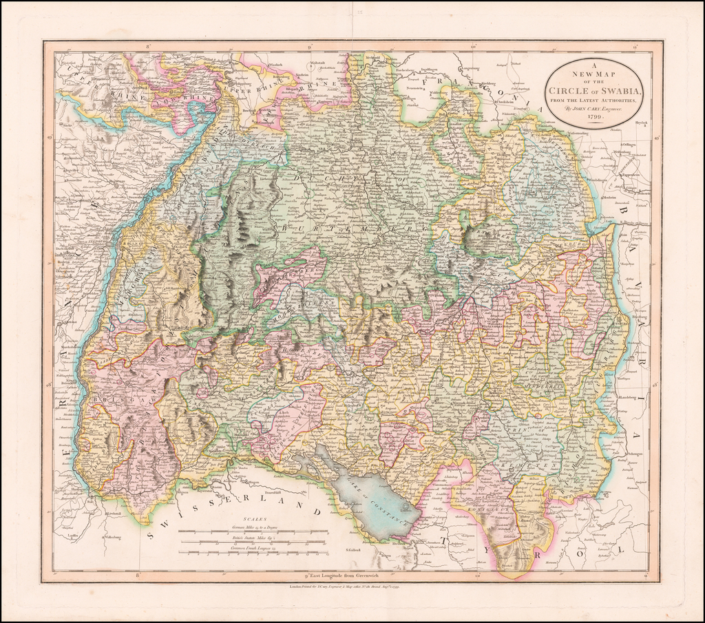 A New Map of the Circle of Swabia, From The Latest Authorities . . . 1799 By John Cary