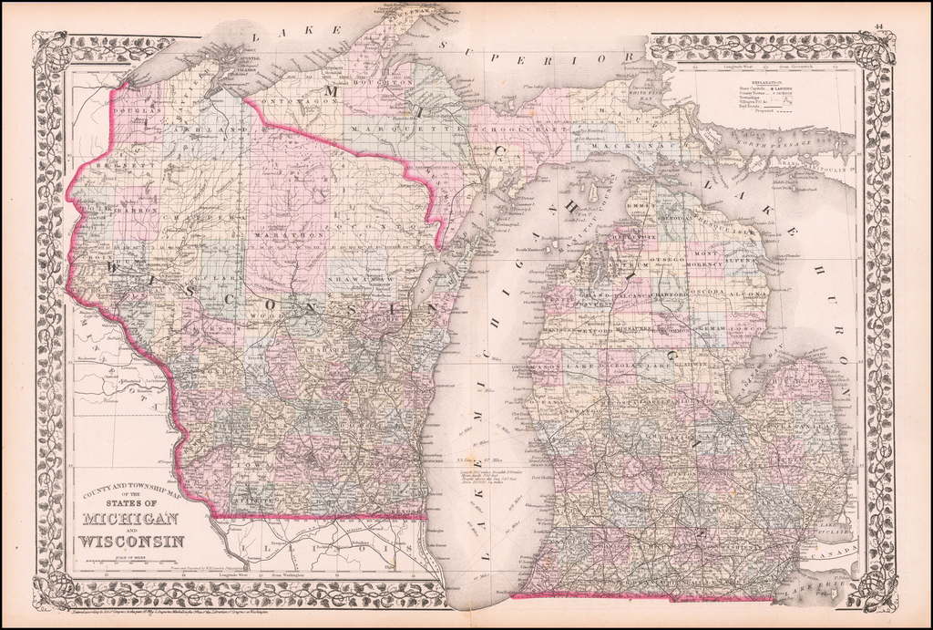 County & Township Map of the States of  Michigan and Wisconsin By Samuel Augustus Mitchell Jr.