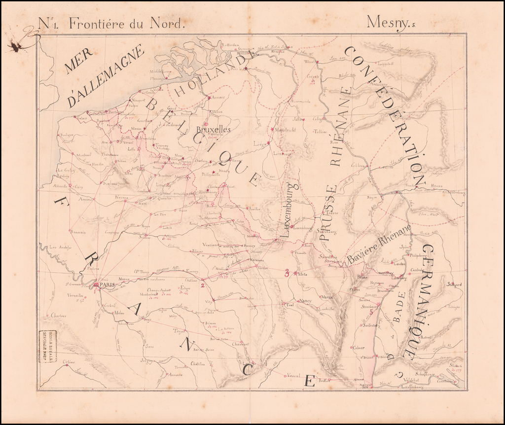 [Napoleon's Battles in France, Belgium Netherlands, Luxembourg, Germany]  No. 1 Frontiere du Nord.  Mesny 5. By Anonymous