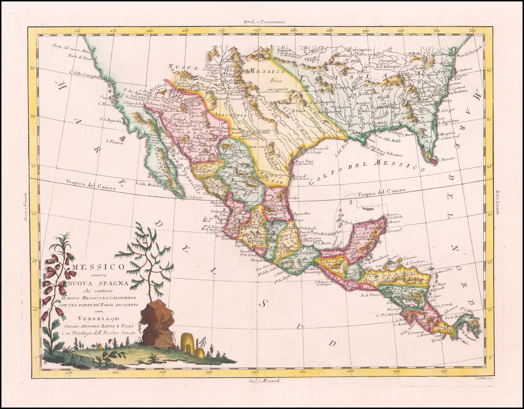 Messico ouvero Nuova Spagna che contiene Il Nuovo Messico La California Con Parte De'Paesi Adjacenti By Antonio Zatta