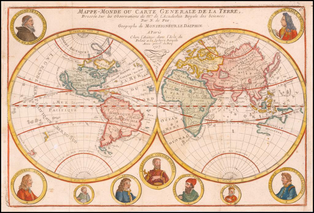 Mappe-Monde ou Carte Generale De La Terre, Dressee Sur les Observations de Mrs. De L'Academi Royal des Sciences . . .  1717 By Nicolas de Fer