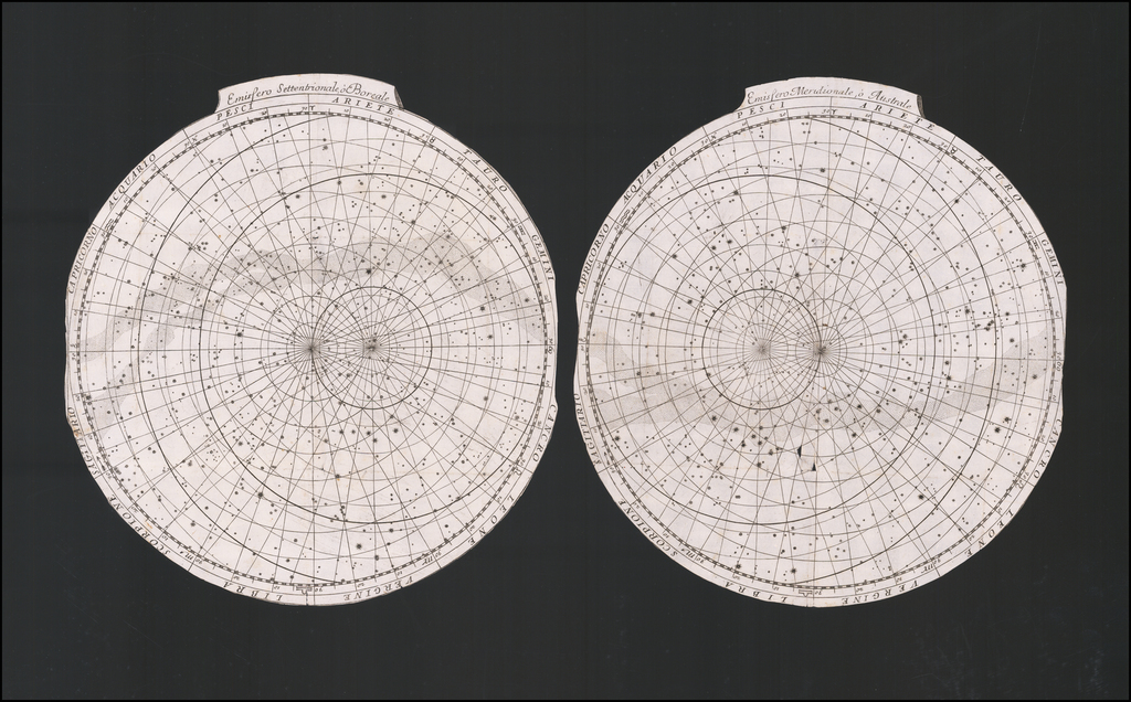 Emisfero Settentrionale o Boreale and Emisfero Meridionale o Australe By Vincenzo Maria Coronelli