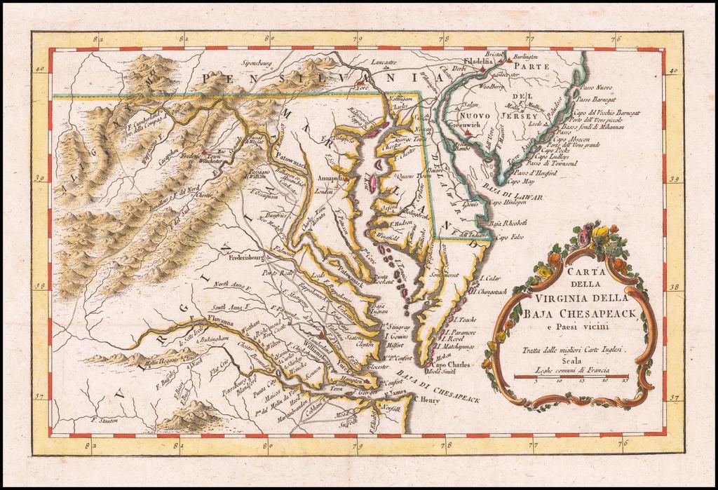 Carta Della Virginia Baja Chesapeack, e Paesi vicini By Gazzetiere Americano