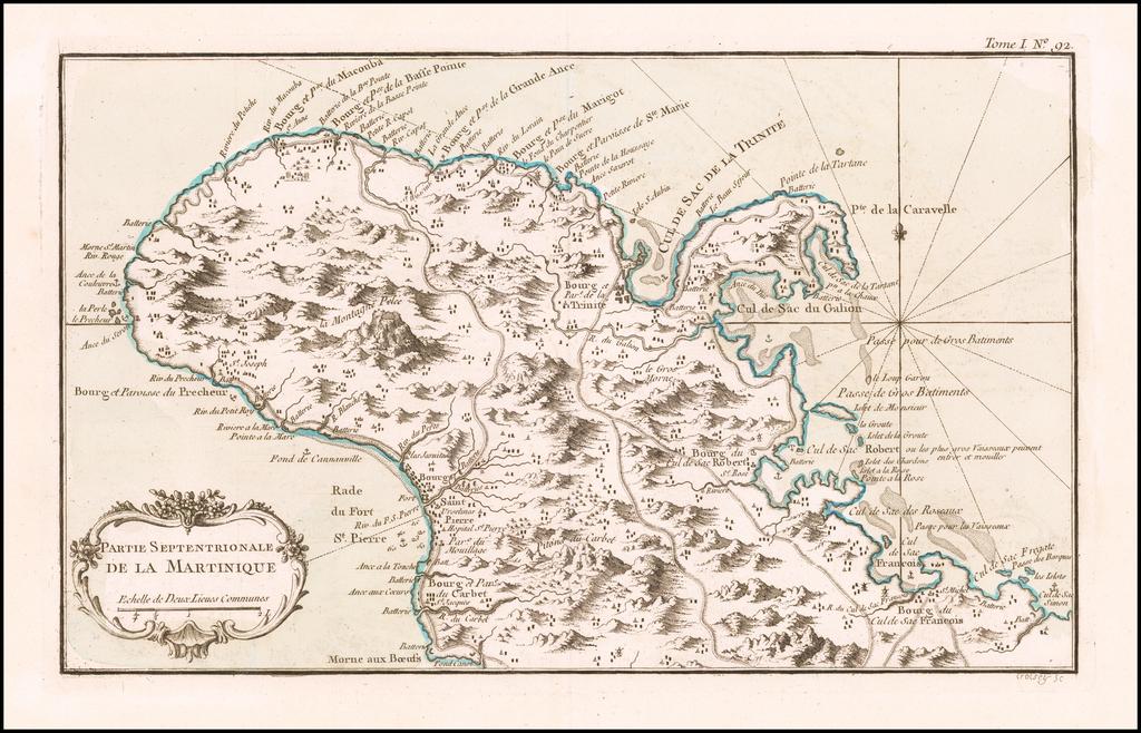 Partie Septentrionale De La Martinique   By Jacques Nicolas Bellin