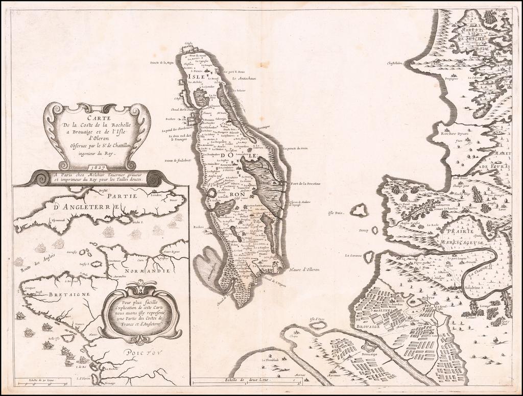 Carte De la Coste de la Rochelle a Brouaige et de l'Isle d'Oleron Observee par le Sr. de Cattillon ingenieur duy Roy. 1627 . . .  By Melchior Tavernier