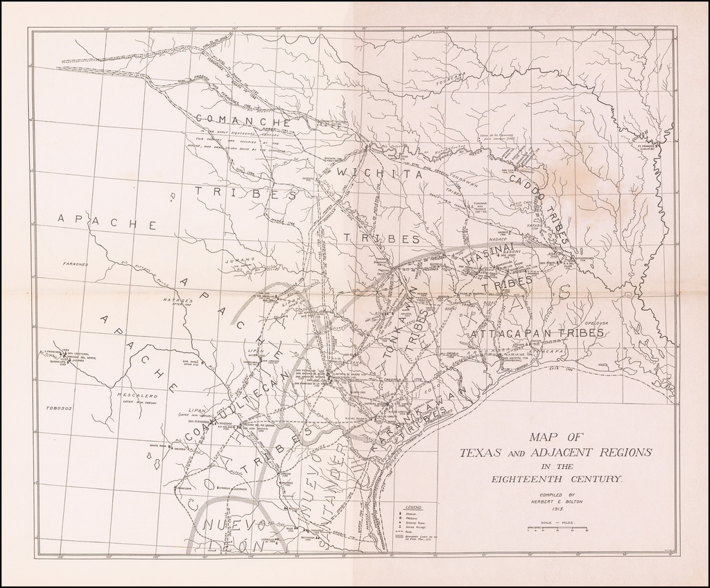 Map of Texas and Adjacent Regions in the Eighteenth Century Compiled by Herbert E. Bolton 1915. By Herbert Eugene Bolton
