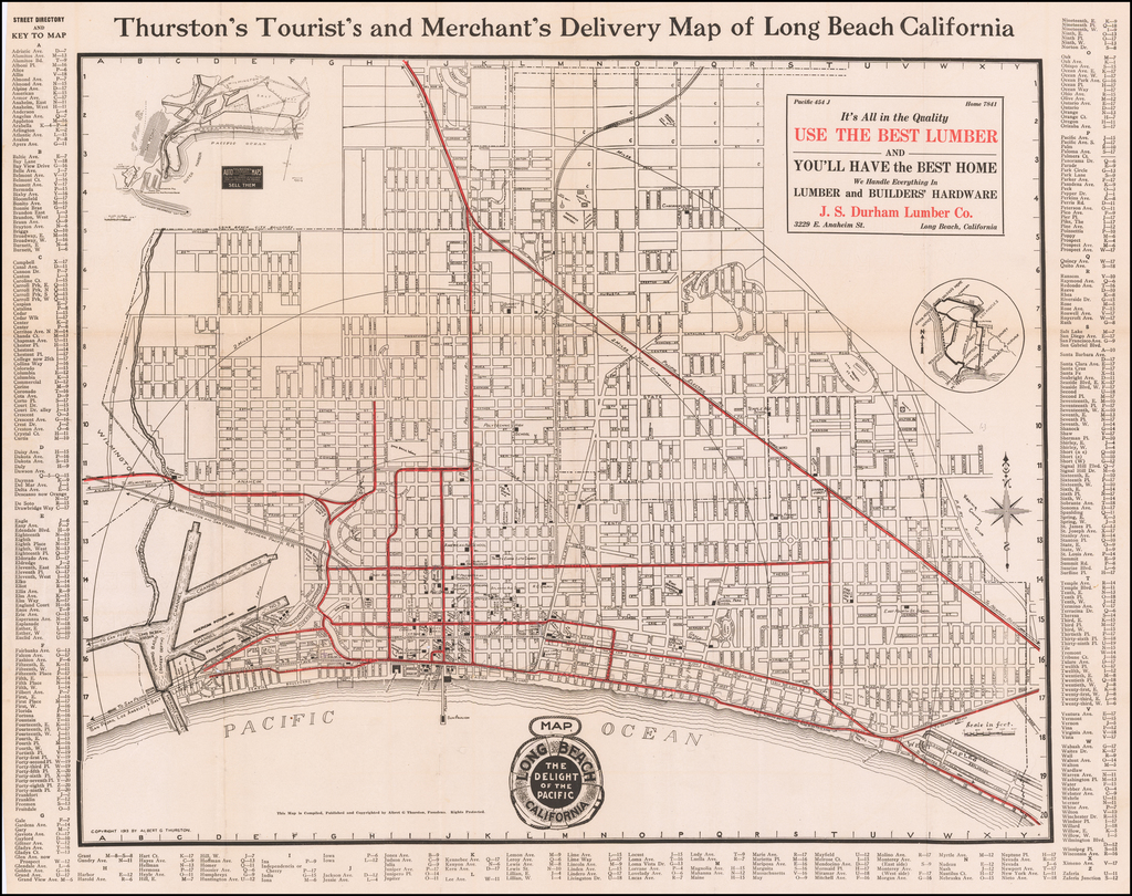 Thurston's Tourist's and Merchant's Delivery Map of Long Beach California By Albert G. Thurston