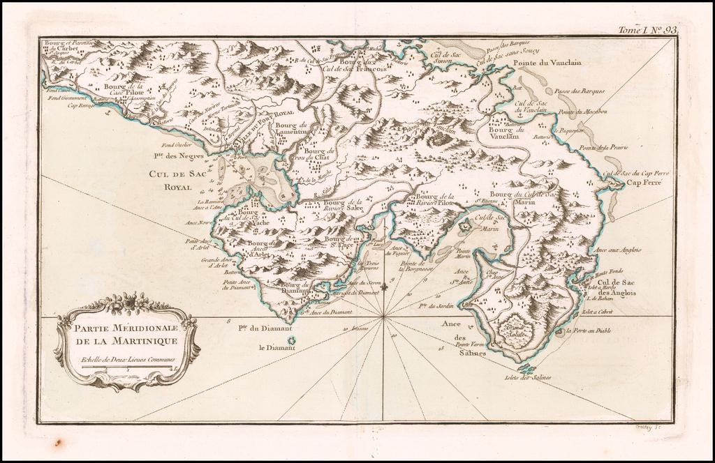 Partie Meridionale De La Martinique   By Jacques Nicolas Bellin