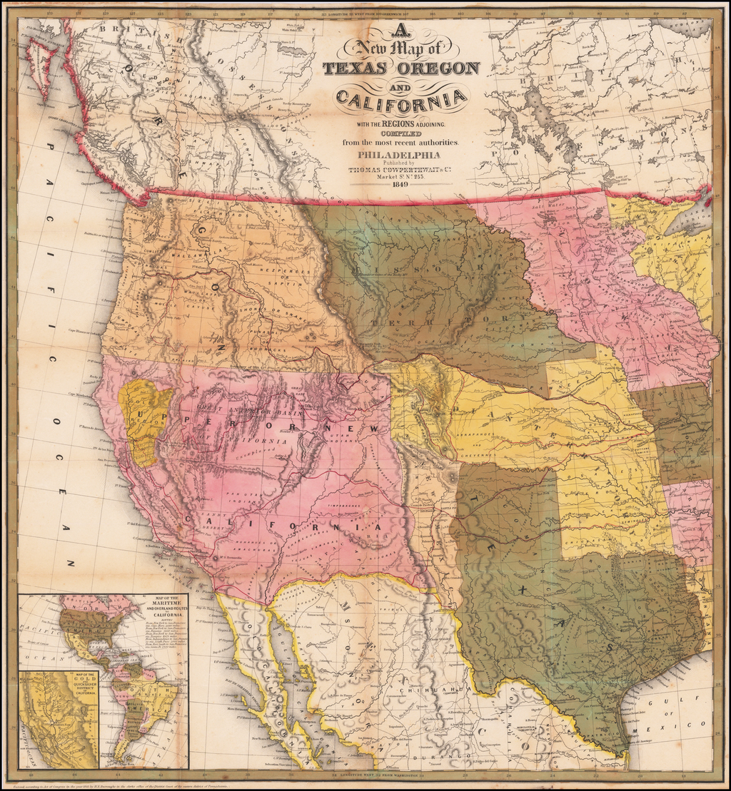 A New Map of Texas Oregon and California with the Regions adjoining Compiled from the most recent authorities... 1849 [Very Rare Variant Edition] By Thomas Cowperthwait & Co.