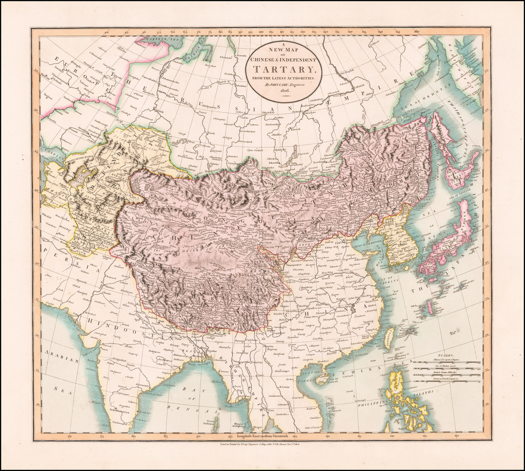 A New Map of Chinese & Independent Tartary, From The Latest Authorities . . . 1806 By John Cary